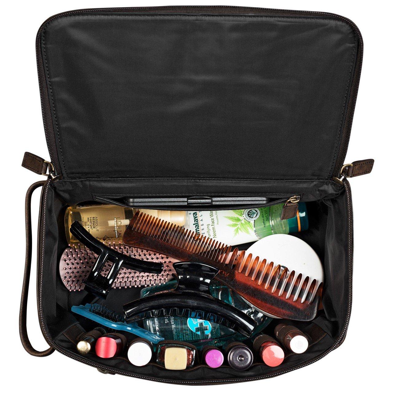 Couleur:Marron Acajou STILORD Mona Vintage Trousse de Maquillage Cuir pour Femmes Sac de Voyage pour Trousse de Toilette Sac de Lavage