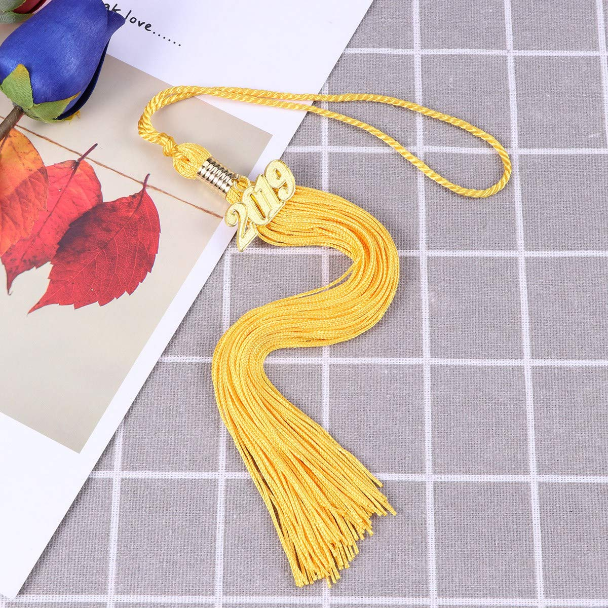 Yellow TOYANDONA Tassel 2019 Graduation Hat Number Craft Tassel Hanging Pendent for Bachelor Master Doctor Cap