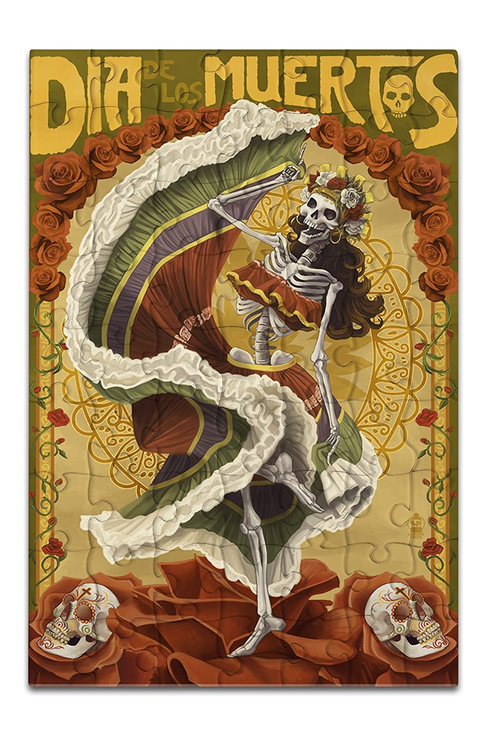 Dia De Los Muertos - Skeleton Dancing - Day of the Dead (8x12 Premium Acrylic Puzzle, 63 Pieces)