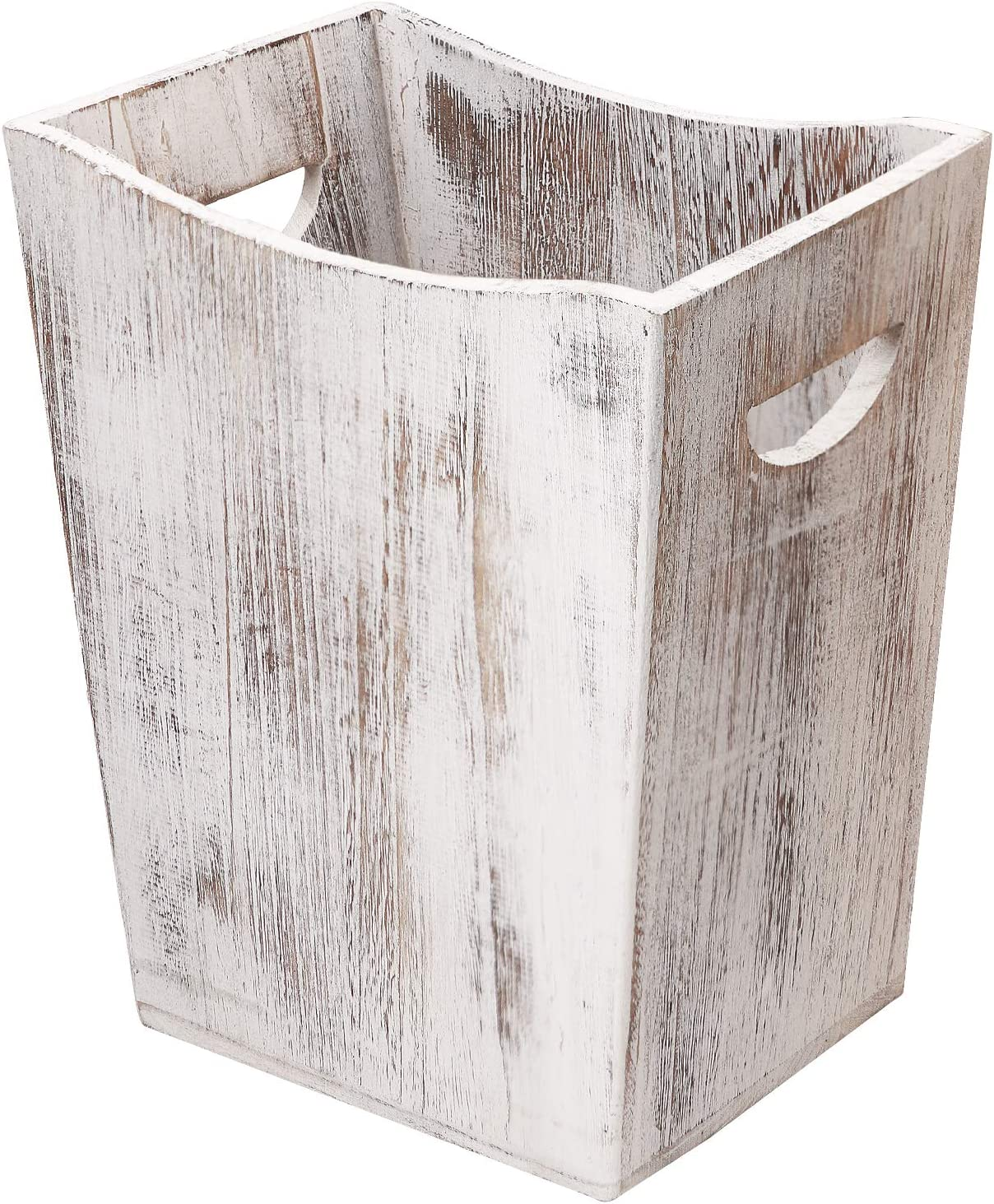 Honest Wood Trash Can,Rustic Farmhouse Style Wastebasket Bin with Handle for Living Room,Bedroom,Bathroom,Kitchen,Office(White)