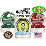 "Crazy Aaron's Thinking Putty Mini Tins Holiday (Christmas) ""Icicle"" Glow in the Dark, ""Ornament"" Red Sparkle & ""Evergreen"" Green Scented Gift Set Bundle - 3 Pack (Limited Edition)"