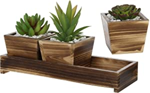 MyGift Set of 3 Torched Wood Succulent Planter Square Pots w/ Tray