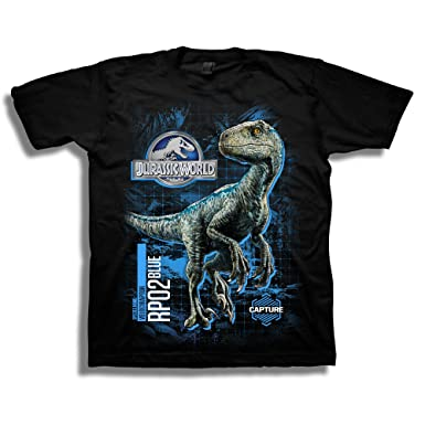 9b60798e Amazon.com: Jurassic World Boys 2 Blue Raptor Grid Short Sleeve T-Shirt:  Clothing