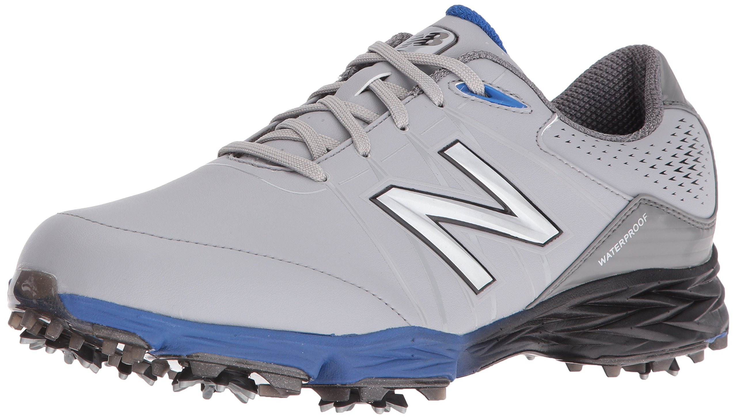 New Balance Men's NBG2004 Waterproof Spiked Comfort Golf Shoe, Grey/Blue, 12 M US by New Balance