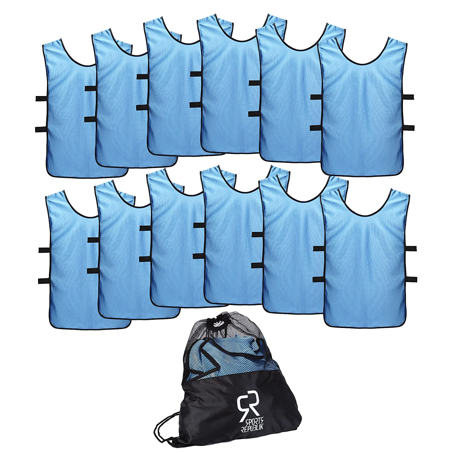 Sports Jersey Pinnies for Kids, Youth and Adults (12-Pack) - Perfect