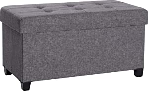 SONGMICS Storage Ottoman, Padded Foldable Bench, Chest with Lid, Solid Wood Feet, Space-Saving, 65L Capacity, Holds up to 660 lb, for Bedroom, Hallway, Children's Room, Dark Gray ULSF16GYZ