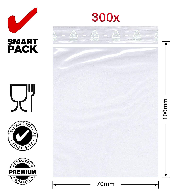 Bolsas de pl/ástico con cierre a presi/ón Smart PackTM 300 unidades, 70 x 100 mm, 50 m/µ, polietileno de baja densidad, transparentes, aptas para alimentos, con cremallera