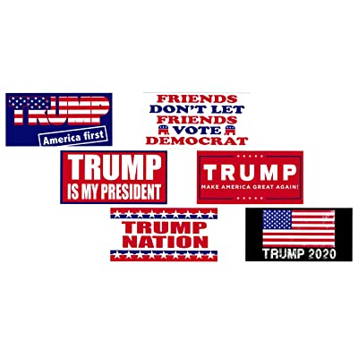 Universal Affect - Collection of 6 Different - Donald Trump Removable Bumper Stickers - Keep America Great! - Made in The USA - UV Resistant - Bonus Free 2020 Trump Re-Election Bill - Set # 2: Toys & Games