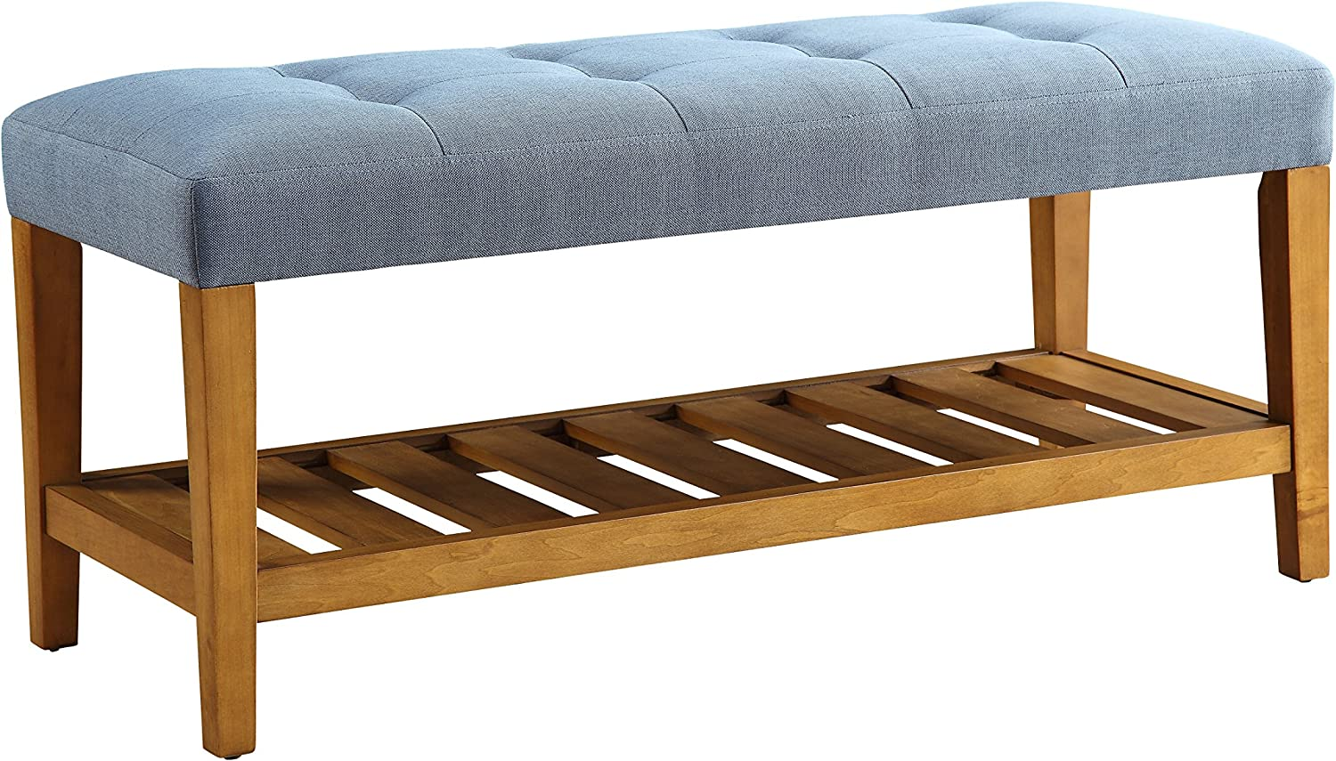 ACME Furniture Charla Bench, Blue & Oak, One Size