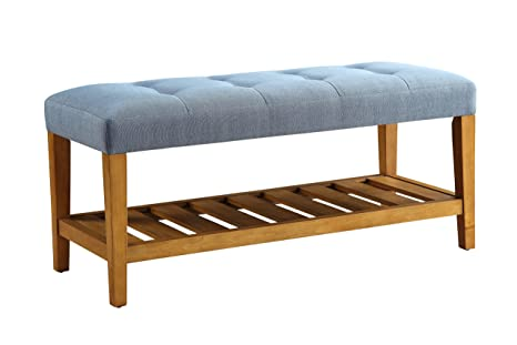 Admirable Acme Furniture Charla Bench Blue Oak One Size Unemploymentrelief Wooden Chair Designs For Living Room Unemploymentrelieforg