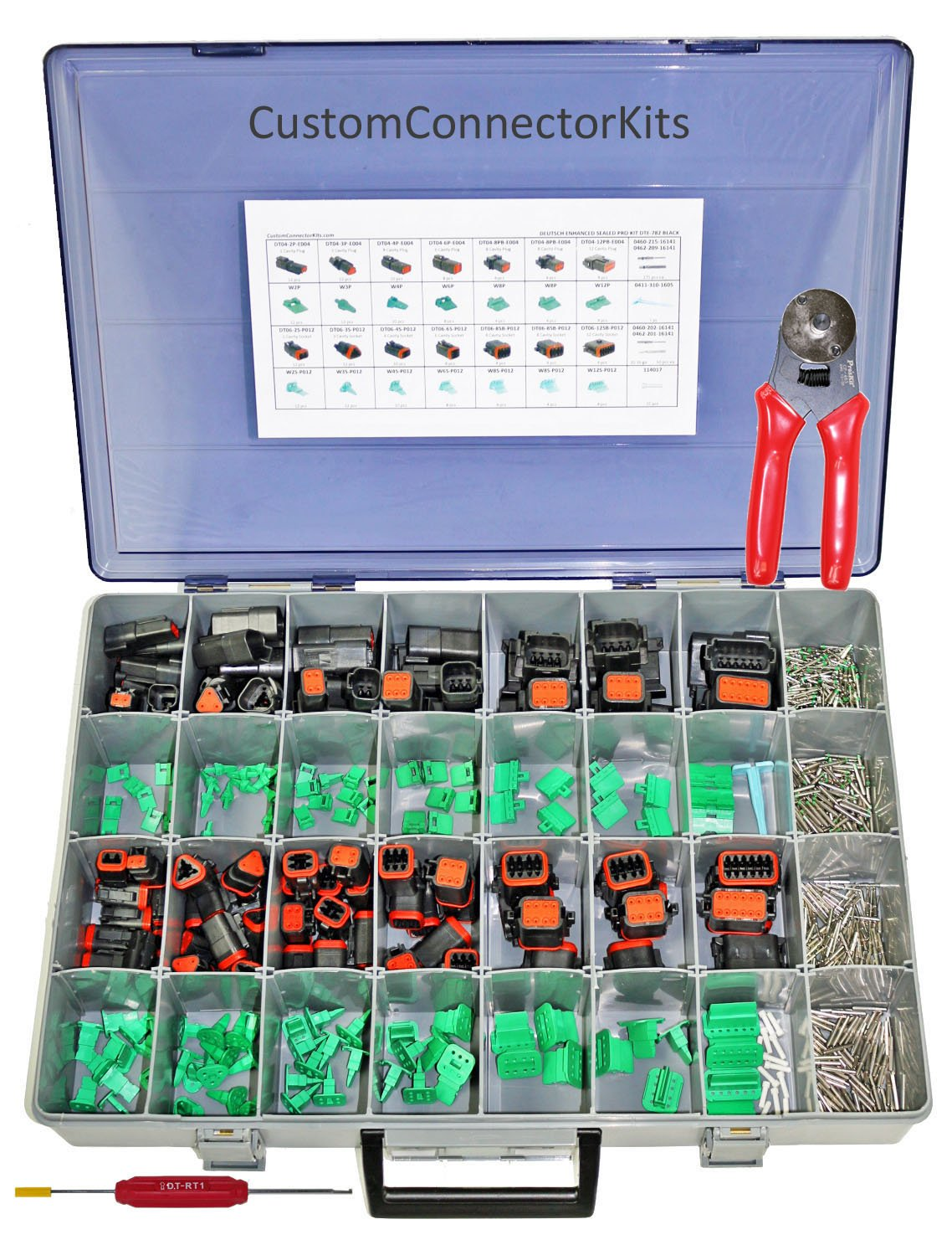 Deutsch DT Enhanced Sealed Pro Connector Kit DTE-800 Black With Crimp Tool: Black Enhanced Environmentally Sealed Automotive Electrical Connectors 14-20 Gauge 800 Piece Kit With 4-Way Indent Crimp Tool