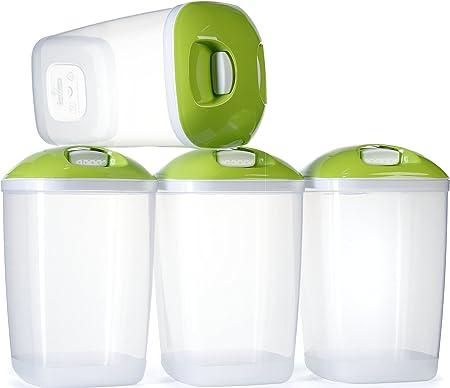Cibo per Animali Domestici e pi/ù Cereali Riso /4/x Set da Cucina per Tubo di plastica per Alimenti contenitori con Paletta Ideale per Pasta Invero/
