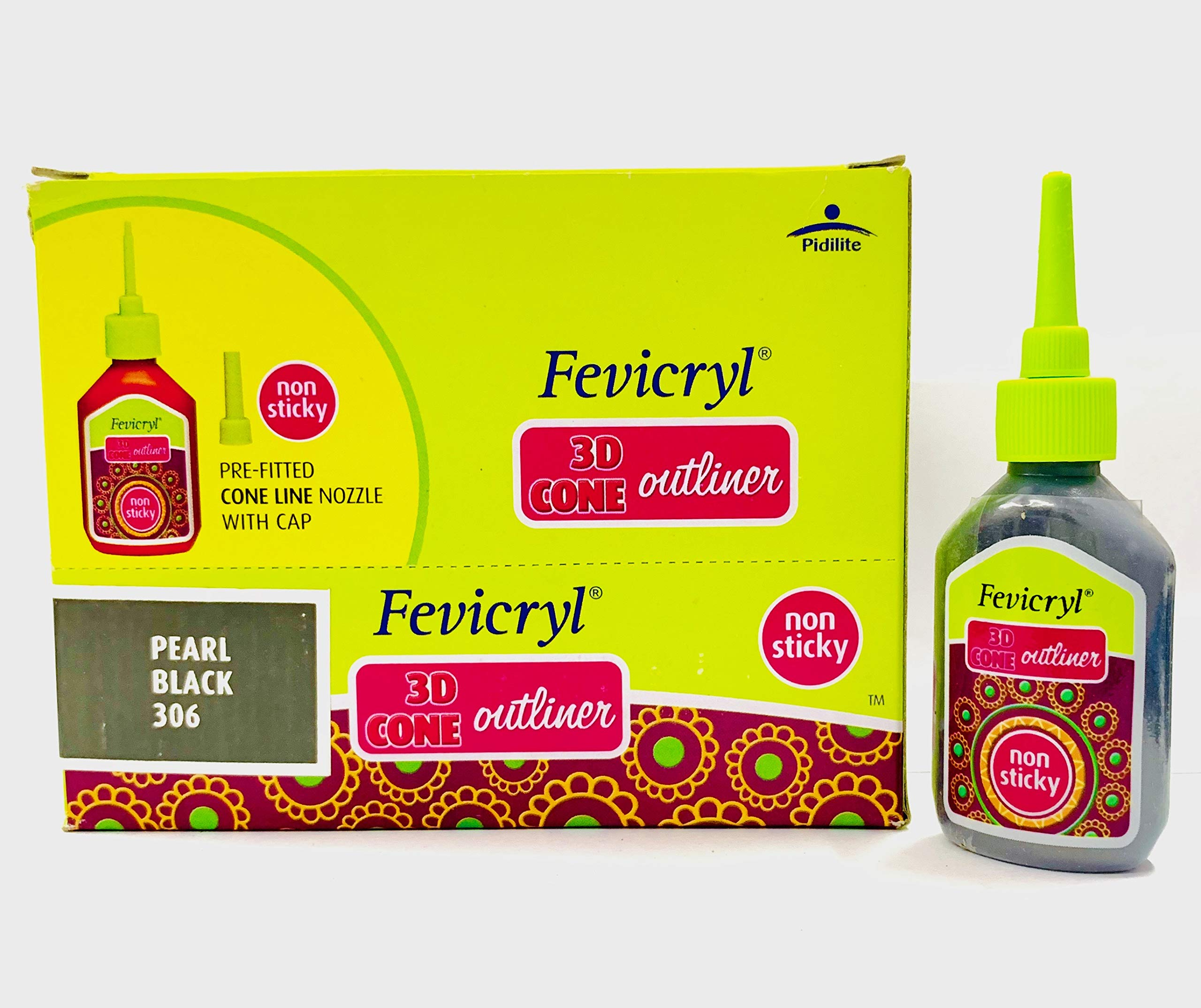 New Fevicryl Non Sticky 3D Cone Outliner Non-Toxic with Pre-Fitted Cone Line Nozzle with Cap (306) - 20ml Bottle -10 Bottle Pack - Colour - Pearl Black- with Free 3D Keyring by Fevicryl