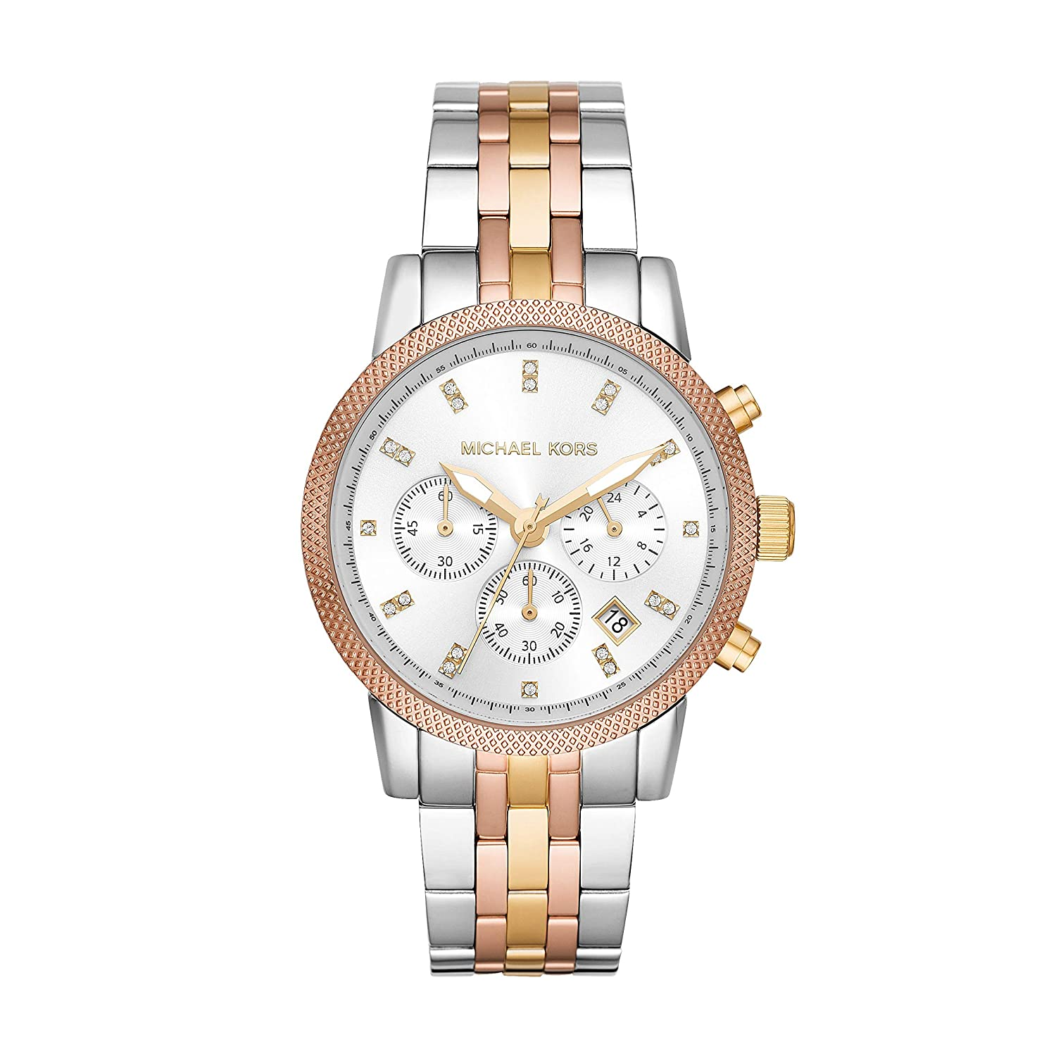 7c8f390d54e0 Amazon.com  Michael Kors MK6344 Ritz Tricolor Stainless Steel Chronograph  Women s Watch  Watches