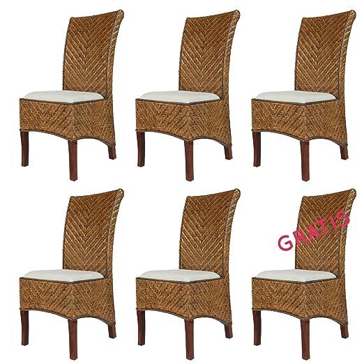 6x Rattan Stühle Salta Esszimmer Korbstühle Honig Inkl Sitzkissen