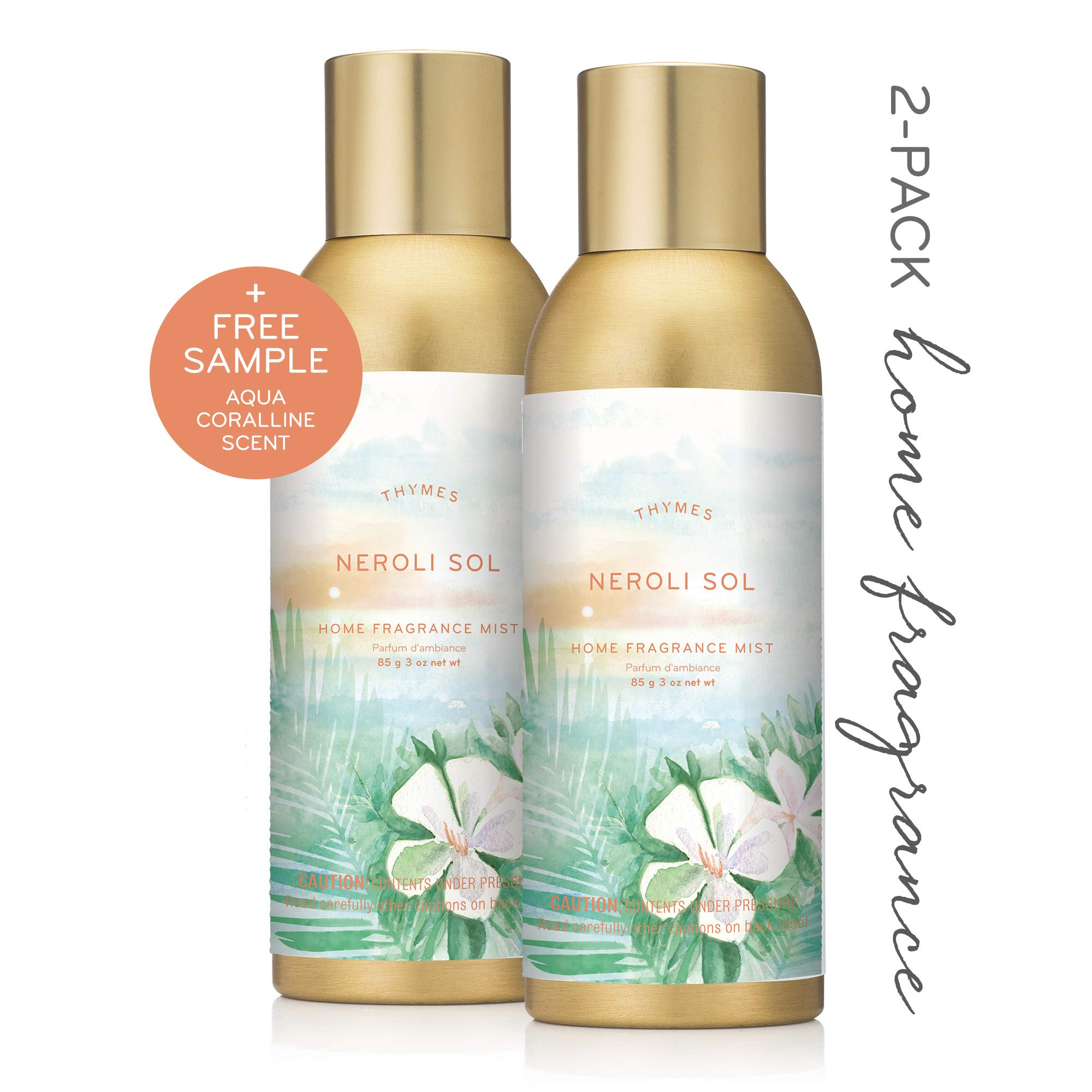 Thymes - Neroli Sol Home Fragrance Mist (2-Pack) with Free Aqua Coralline Sample Pack - Relaxing Coconut Scented Room Spray - 3 oz by Thymes (Image #1)