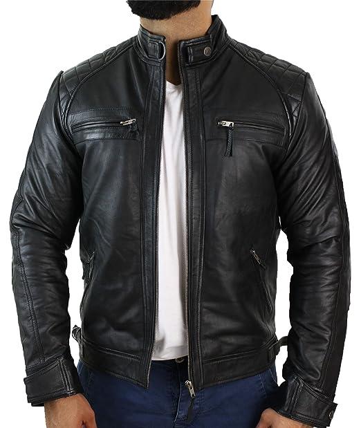 Chaqueta para hombre de cuero suave 100 % auténtico de estilo motero retro: Amazon.es: Ropa y accesorios