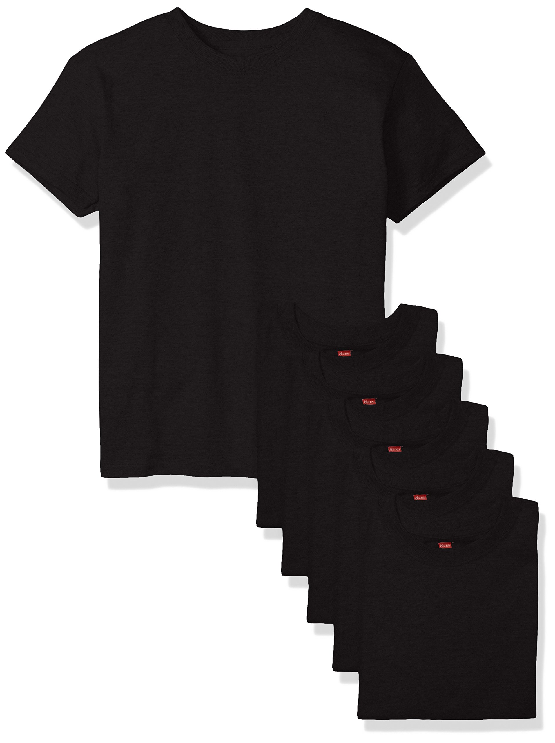 Hanes Big Boys' Comfortsoft T-Shirt (Pack of 6), Black, Medium