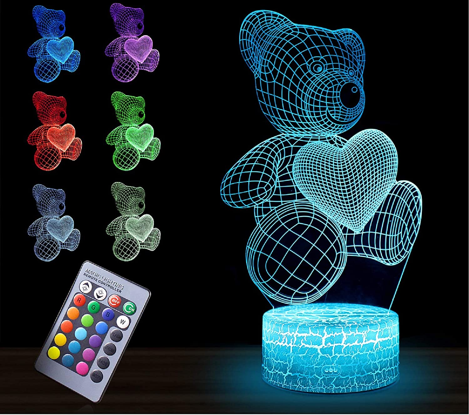 3D Night Light for Kids,3 in 1 Illusion Lamp for Home Decoration,3D Optical Illusion LED Lamps with Remote Control Bedroom Decorations Birthday,Christmas Gift Ideas for Girls Teen– Owl/Bear/Unicorn