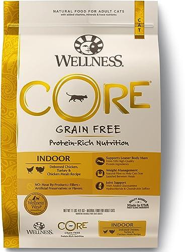 Wellness CORE Grain-Free Chicken, Turkey Chicken Meal Indoor Formula Dry Cat Food, 11 Pound Bag