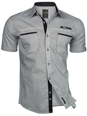 Trisens Herren Hemd Kurzarm Gestreift Slim Fit Sommer Baumwolle Polo Style  Cotton  Amazon.de  Bekleidung 1a22d60899