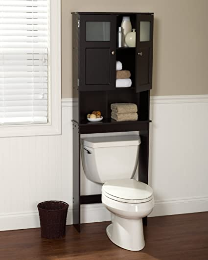 Care 4 Home LLC Bathroom Double Cabinet Over The Toilet Sapcesaver Cabinet  With Large Open Shelf