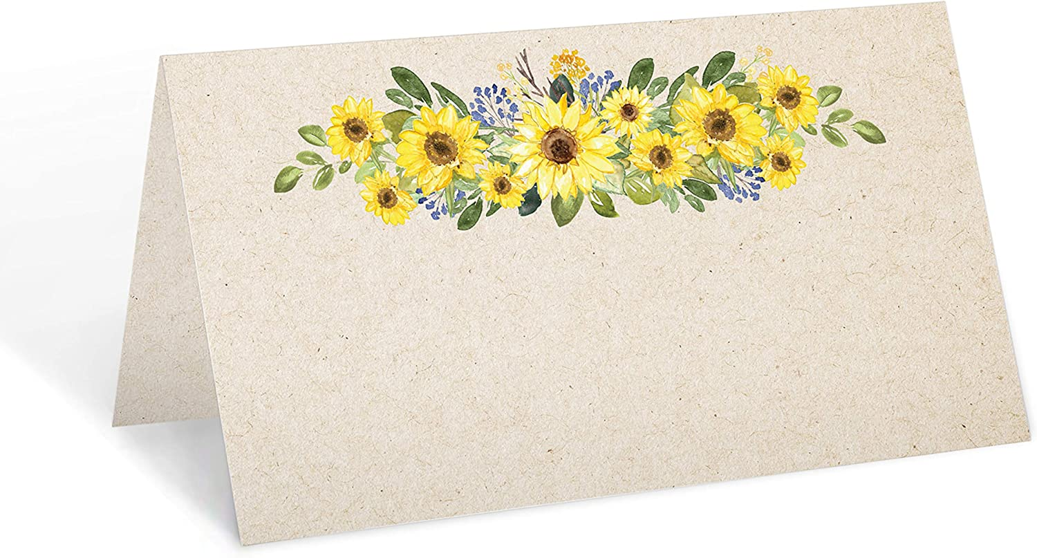 321Done Sunflower Place Cards (Set of 24) Blank Small 3.5