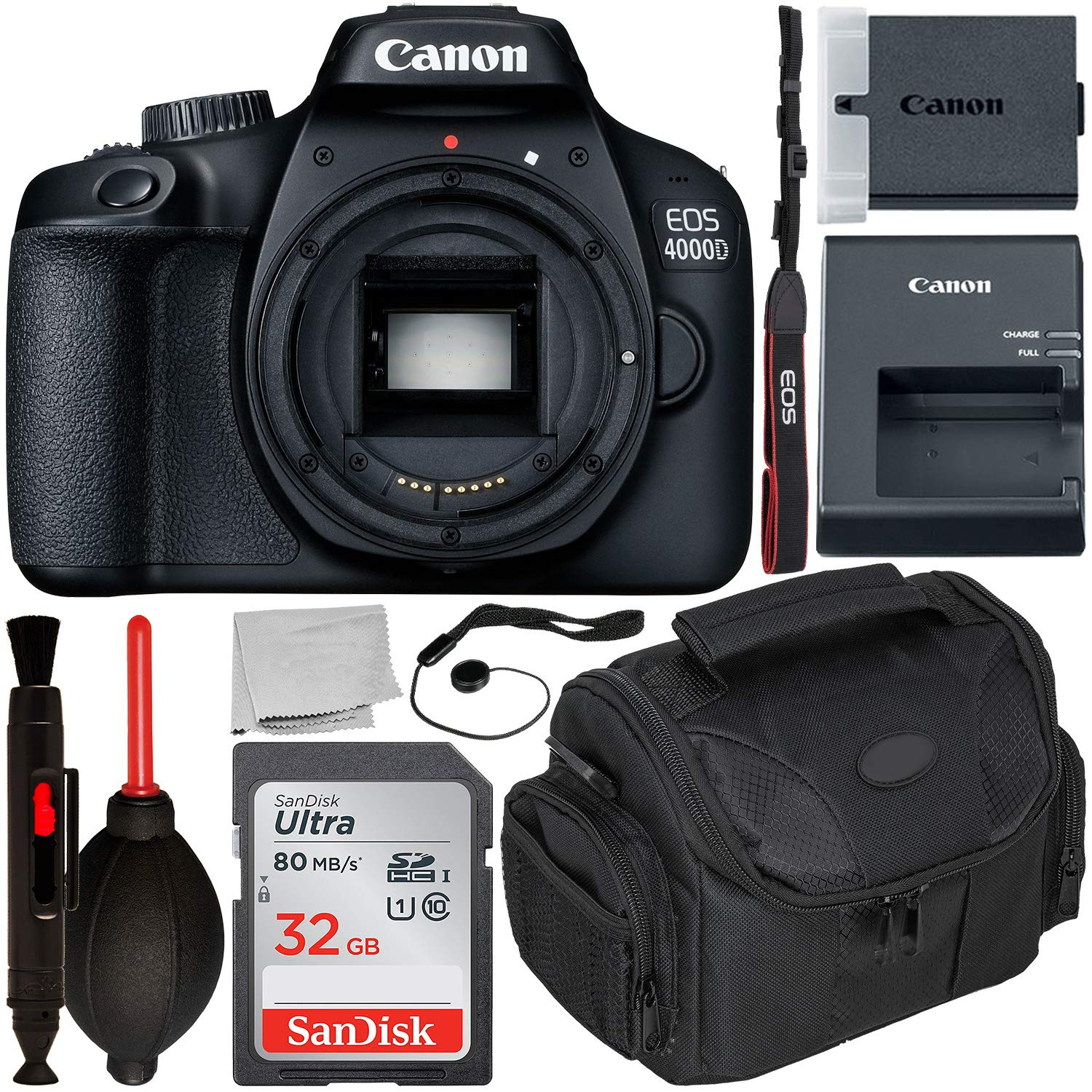 Canon EOS 4000D DSLR Camera (Body Only) with Starter Accessory Bundle - Includes: SanDisk Ultra 32GB SDHC Memory Card + Camera Carrying Case + Body Cap Keeper + Cleaning Pen + Dust Blower + More