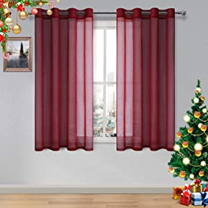 DWCN Amaranth Red Sheer Curtains Bedroom Curtains Faux Linen Voile Sheer Drapes Grommet Top Window Curtain Panel 52 x 54 inches Long,Set of 2 Panels