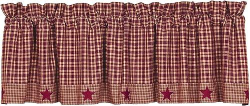 IHF Home Decor Vintage Star Wine Valances Window Treatments 100 Cotton 60 x 16 Inches