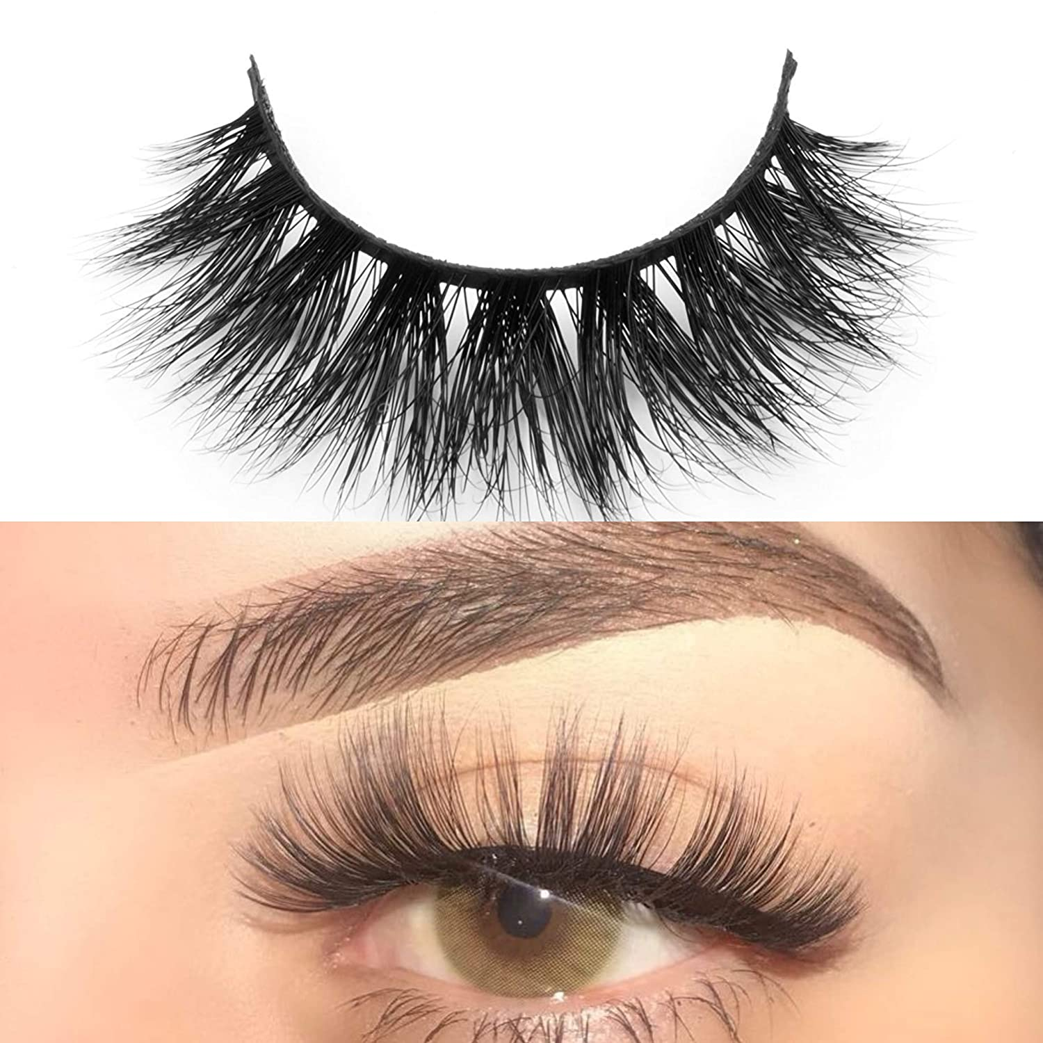 4cc6013b015 Amazon.com : 3D Mink Lashes 100% Handmade Natural Long Siberian Real Mink  Fur lashes Strip Black False Eyelashes for Makeup 1 Pair by EYEMEI : Beauty