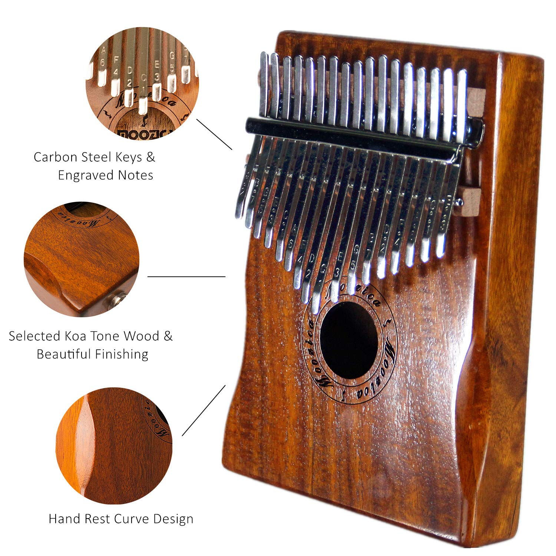 Moozica 17 Keys Kalimba Marimba, Professional Thumb Piano Sanza Mbira Musical Instrument Gift (Koa - K17K) by Moozica (Image #4)