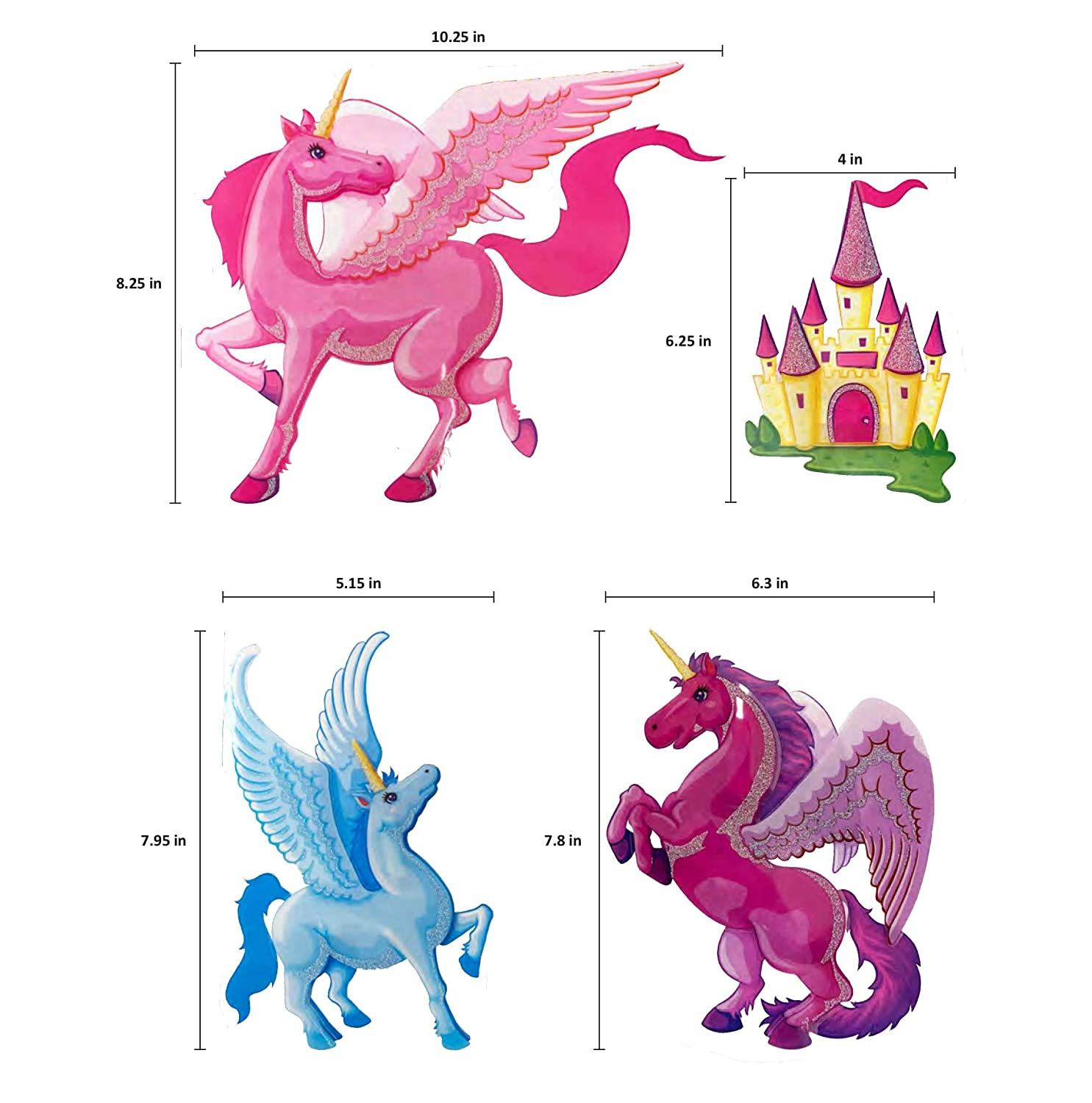 Set of 4 Easy to Stick Removable Wall Decals for Kids Teens Bedrooms Boys Girls Rooms Peel and Stick Spectacular 3D Wall Decor Unicorn Wall Decal Stickers
