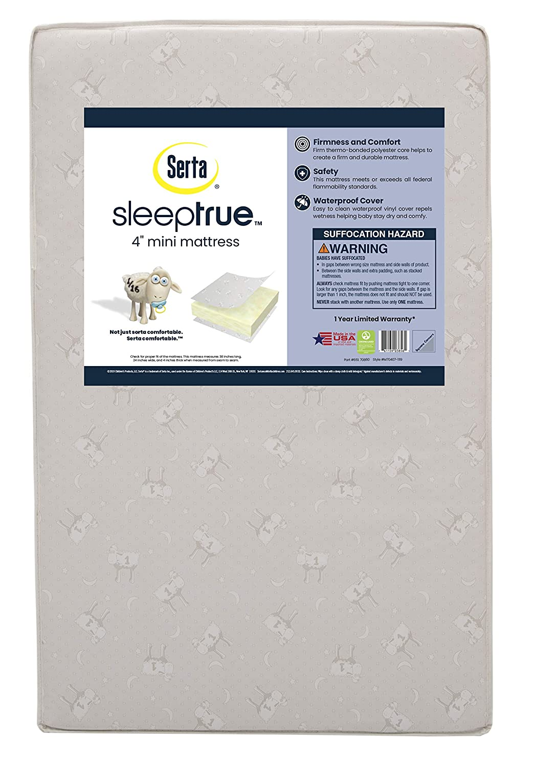 Serta SleepTrue 4-Inch Mini Crib Mattress | Waterproof | GREENGUARD Gold Certified |Trusted 1 Year Warranty | Made in The USA
