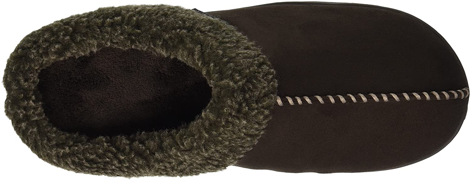 Dearfoams Mens Microsuede Clog with Whipstitch Slipper