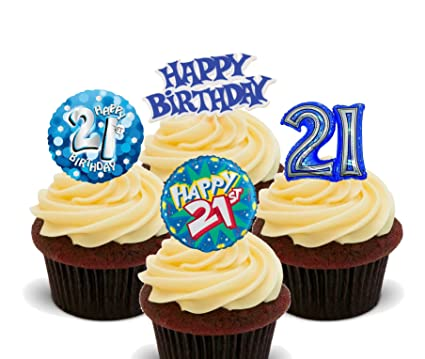 21st Birthday Male Edible Cupcake Toppers Stand Up Wafer Cake