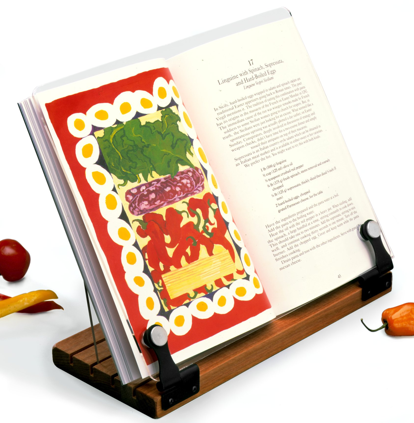 Deluxe Original Cookbook Holder - Acrylic Shield With Wooden Base and Black Hinges - Made in the USA by Clear Solutions