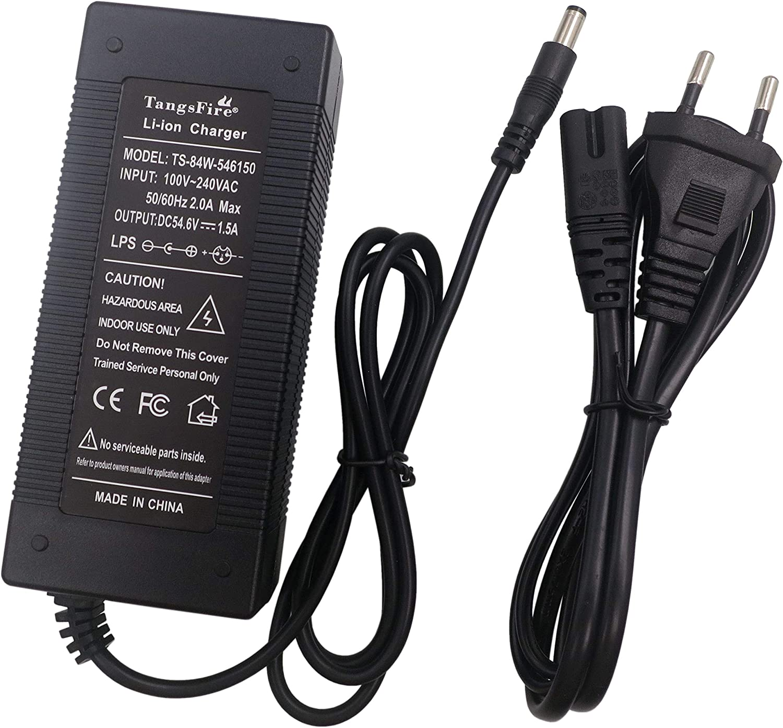 TangsFire 48V Cargador de batería de Salida 54.6V1.5A para Ebike Electric Scooter Baterías de Litio Pack 46.8v DC Plug