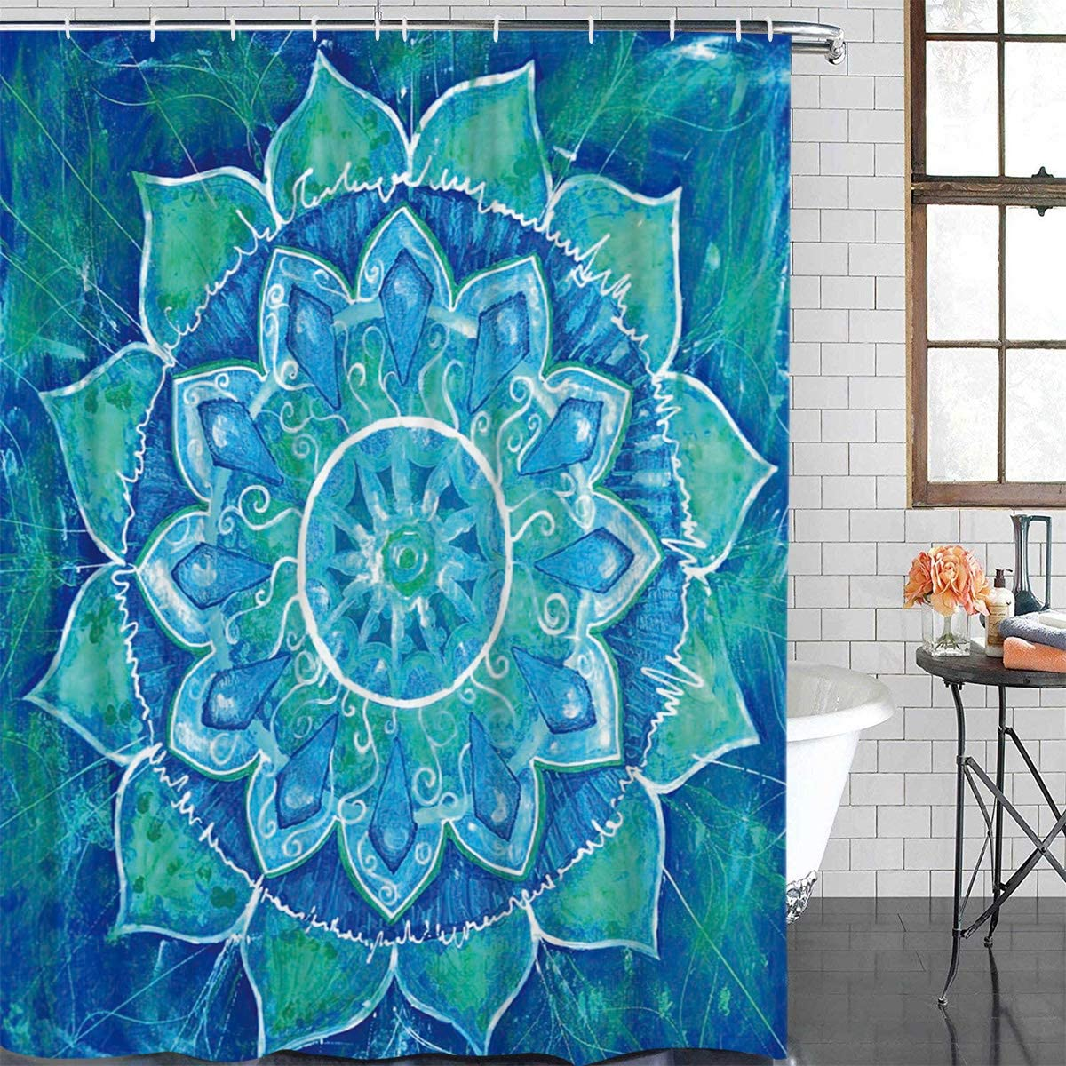 Hippie Shower Curtain Mandala Floral Boho Print for Bathroom
