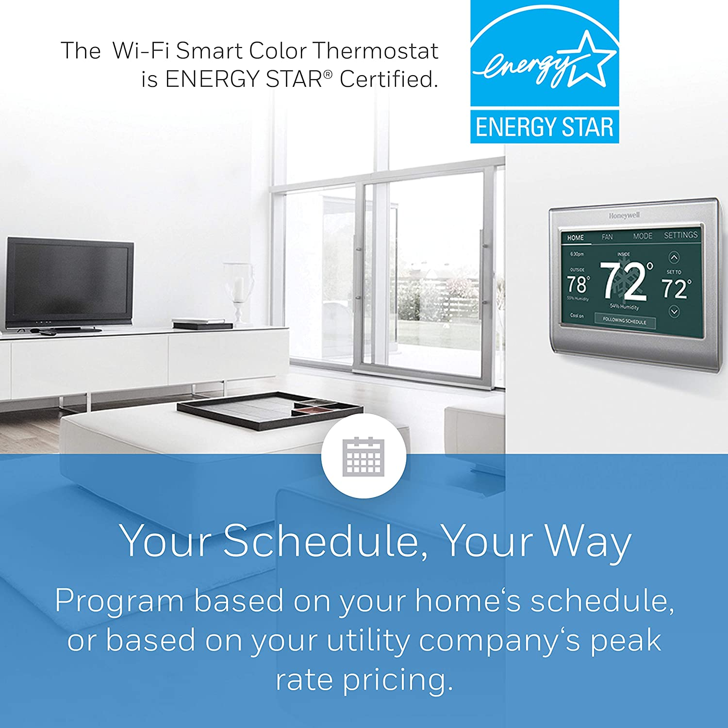 Honeywell Home Wi-Fi Smart Color Programmable Thermostat In-app Programming RTH9585WF1004 Easy Installation, Alexa and Apple Home Enabled Personalized Color Display Customizable Programming