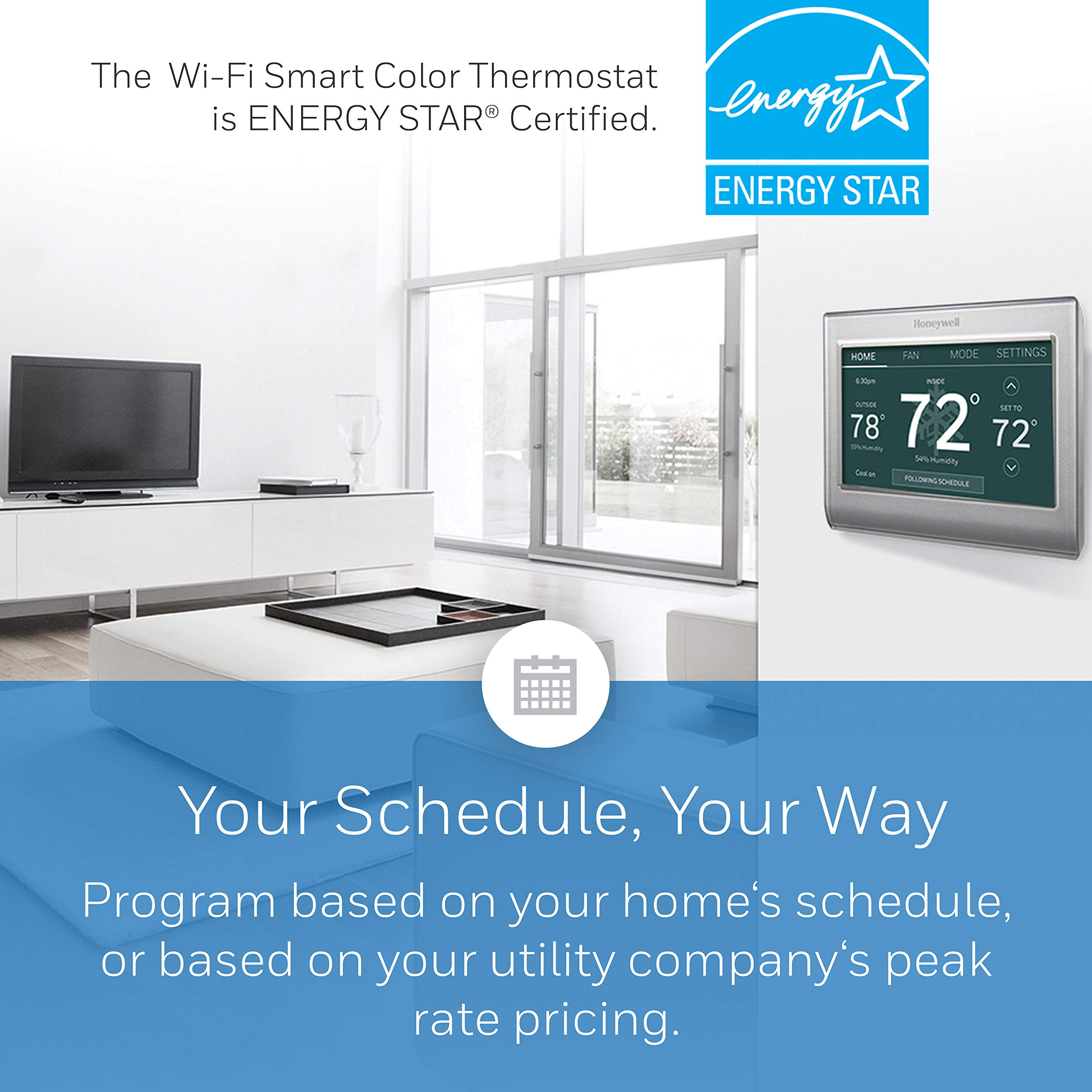 Honeywell Home Wi-Fi Smart Color Programmable Thermostat, Customizable Programming, Alexa and Apple Home Enabled, In-app Programming, Personalized Color Display, Easy Installation, (RTH9585WF1004) by Honeywell (Image #4)