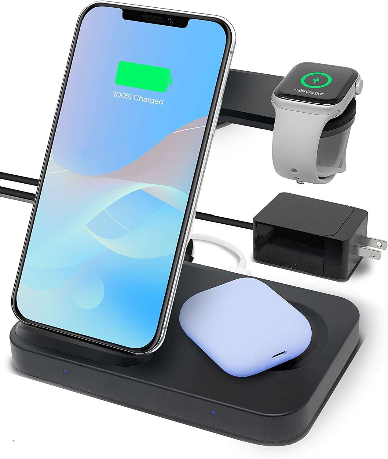 Amazon Com Ocommo 3 In 1 Qi Wireless Charging Station For Multiple Devices Airpods Samsung Watch Apple Watch 5 4 3 2 1 Android Phones Iphone 11 11 Pro 11 Max Pro Xs Max Xr Qc 3 0 Adapter Included