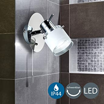 BK Licht applique murale LED spécial salle de bain, IP44, interrupteur à  cordelette, spot orientable, luminaire salle de bain, blanc chaud, GU10, ...
