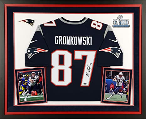85459a4b Rob Gronkowski New England Patriots Super Bowl LIII Champions Deluxe Framed  Autographed Navy Nike Limited Jersey