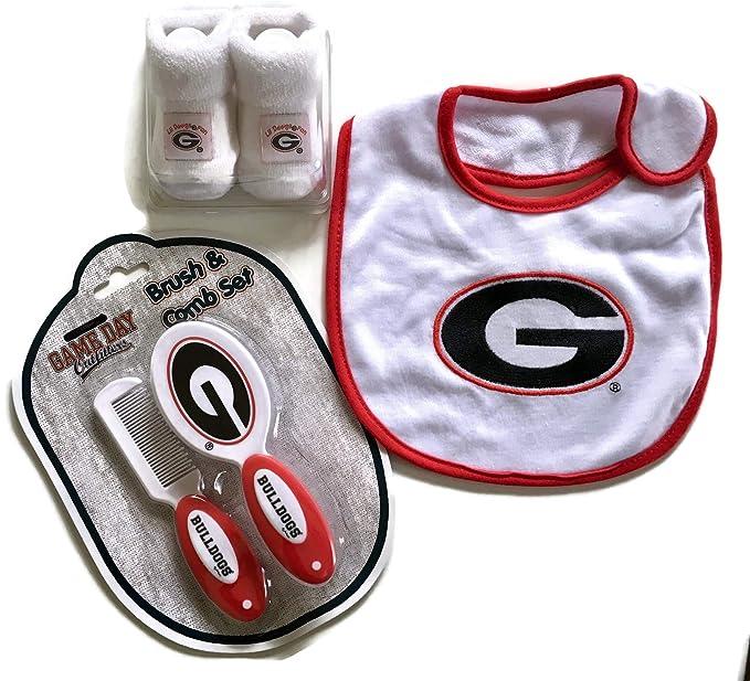 3ae04b995 Amazon.com: Georgia Bulldogs Baby Booties Gift Set Red Brush Comb UGA Bib  NCAA Infant Socks Bulldawgs: Clothing