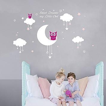 Bdecoll Bébé Chouette Sur Lune Et étoile Stickers Muraux Oiseaux 2 X Hibou Mignon Chambre Decor Garçons Filles Chambre Décoration Mur Art Pink