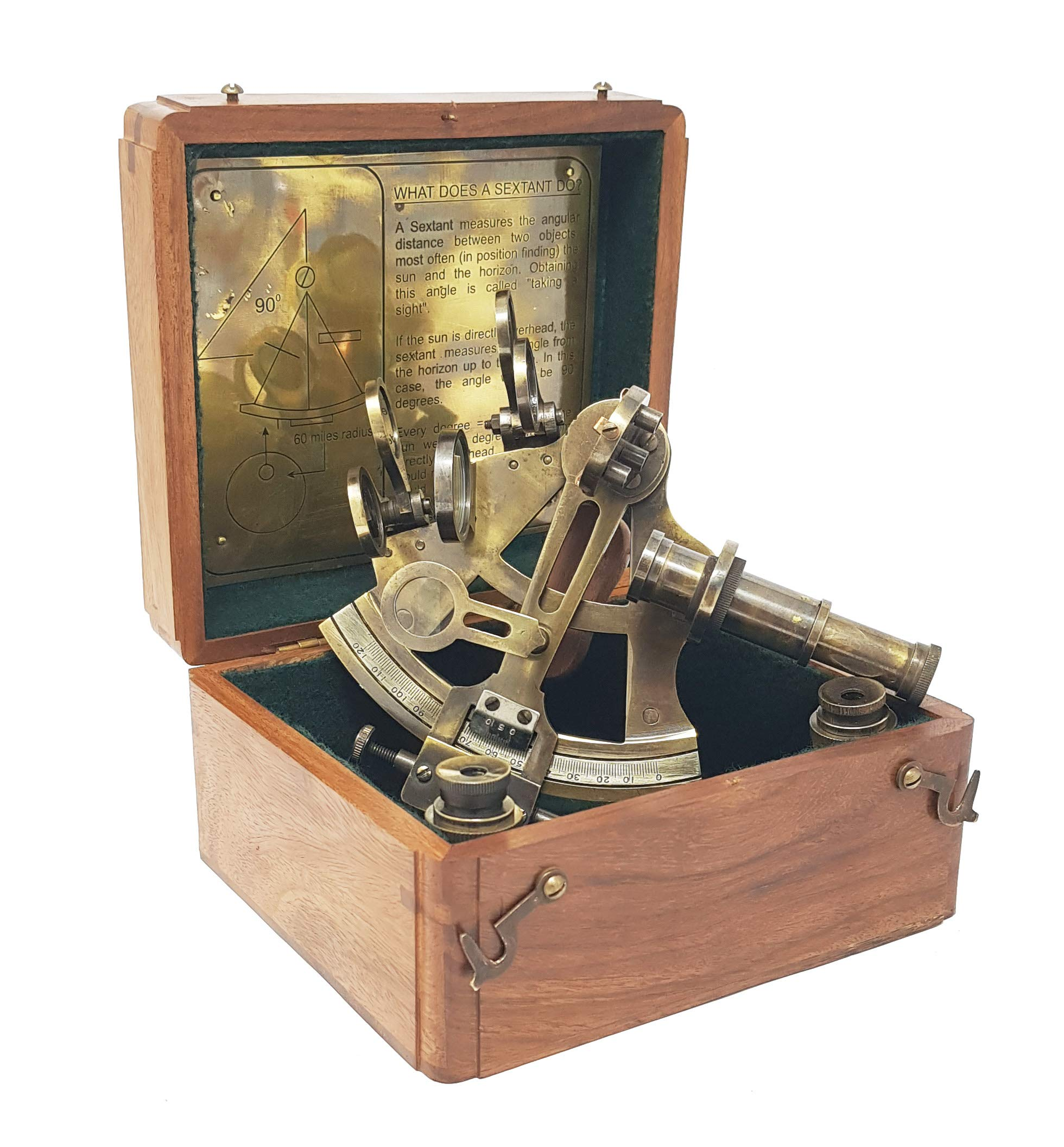 Brass Nautical - Sextant Brass Navigation Instruments Sextante Navegacion Marine Sextant in Rosewood Gift Box - Slow Motion Mechanism - 4 inches