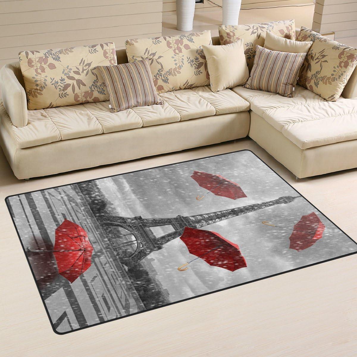 WellLee Area Rug,Fantasy Eiffel Tower Rainy Windy Flying Umbrella Floor Rug Non-Slip Doormat for Living Dining Dorm Room Bedroom Decor 31x20 Inch