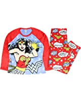 Richard Leeds International Womens Wonder Woman Plush Minky 2 Piece Pajama Set