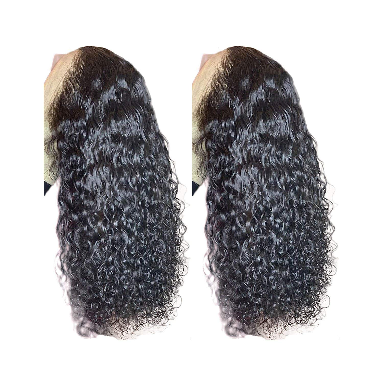 150% Density 360 Lace Frontal Wig For Women Brazilian Remy Hair Pre Plucked Curly Lace Front Human Hair Wigs Bleached Knots,20inches